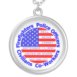 September 11, 2001 silver plated necklace