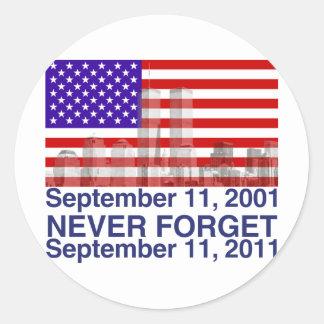 September 11 classic round sticker