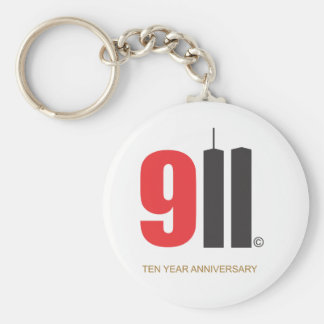 September 11 Twin Towers Love NY Basic Round Button Keychain