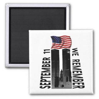September 11 We Remember Memorial Tribute 2 Inch Square Magnet