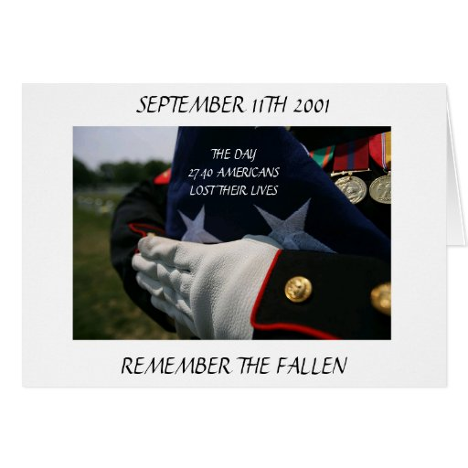 SEPTEMBER 11TH 2001 REMEMBER THE FALLEN GREETING CARD