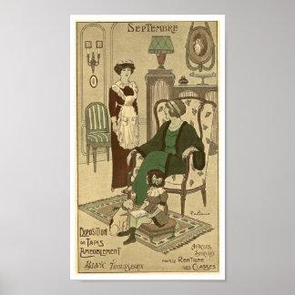 September 1900 French calendar Family home Paris Poster