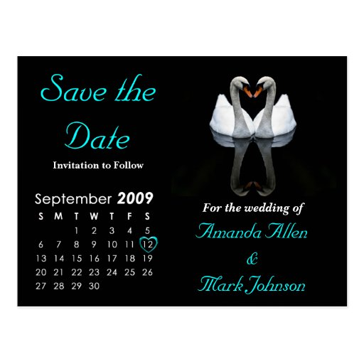 September 2009 Save the Date, Wedding Announcement Postcards