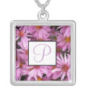 September Birth Flower Monogram Necklace