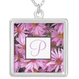 September Birth Flower Monogram Necklace