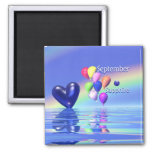 September Birthday Sapphire Heart Fridge Magnets