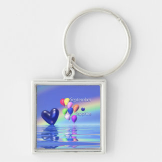 September Birthday Sapphire Heart Keychain
