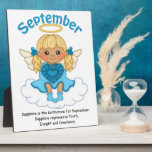 """September Birthstone Angel Blonde Plaque<br><div class=""""desc"""">This design features an angel holding a birthstone for the month of September. Please check in my store for more angels with different color hair holding different birthstones for each month. Great gift for that special someone in your life.     Artwork by Angie Wenke   resaleclipart.com</div>"""