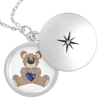 September birthstone heart teddy bear locket