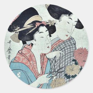 September by Kitagawa, Utamaro Ukiyo-e. Classic Round Sticker