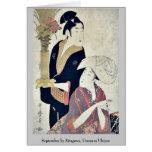September by Kitagawa, Utamaro Ukiyoe Card