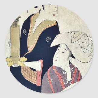 September by Kitagawa, Utamaro Ukiyoe Classic Round Sticker