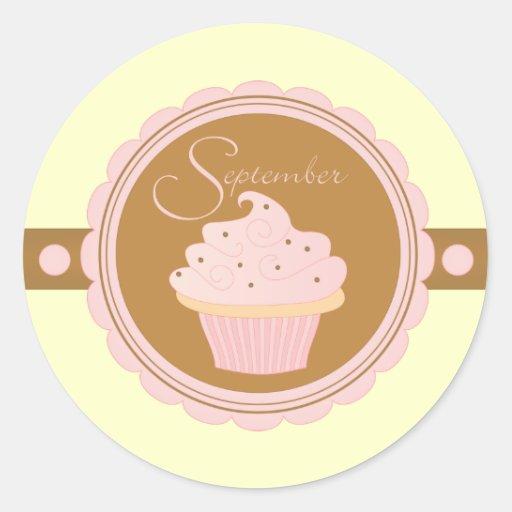September Cupcake Classic Round Sticker