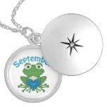 September Frog birthstone silver plated locket