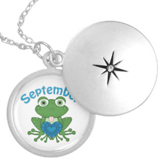 September Frog birthstone silver plated locket