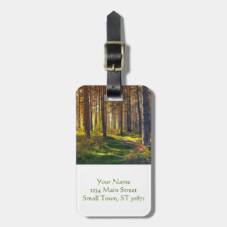 September in the forest.Sunrise in autumn forest Luggage Tag
