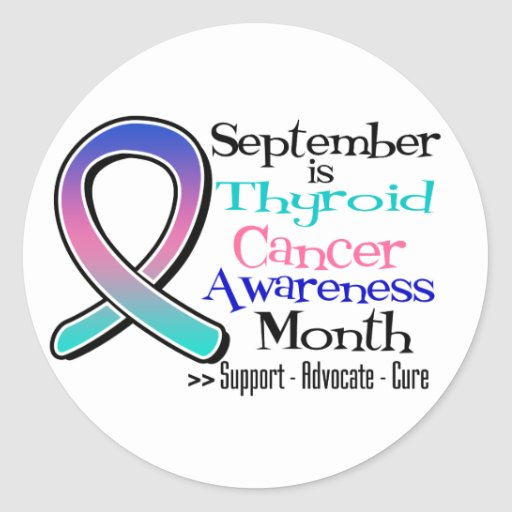September is Thyroid Cancer AWARENESS  Month Round Sticker