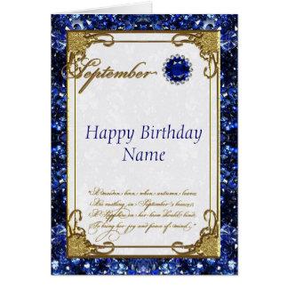September Sapphire Birthstone Birthday Card