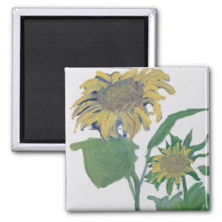 """September Sunflowers"" 2 Inch Square Magnet"