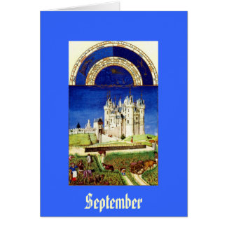 September - Tres Riches Heures du Duc de Berry Stationery Note Card