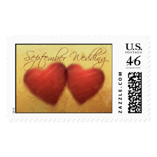 September Wedding Hearts Postage Stamps