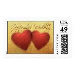 September Wedding Hearts Postage Stamps