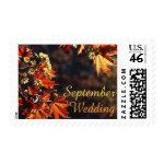 September Wedding stamps autumn leaves postage