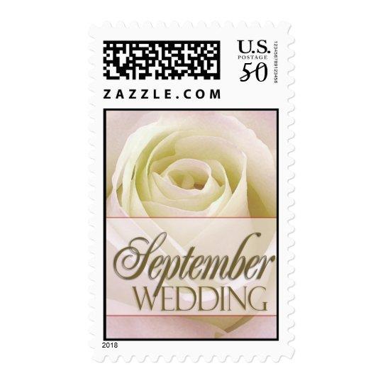 September Wedding White bridal rose Postage