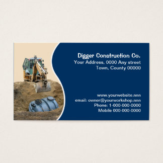 Septic tank being backfilled by a digger business card