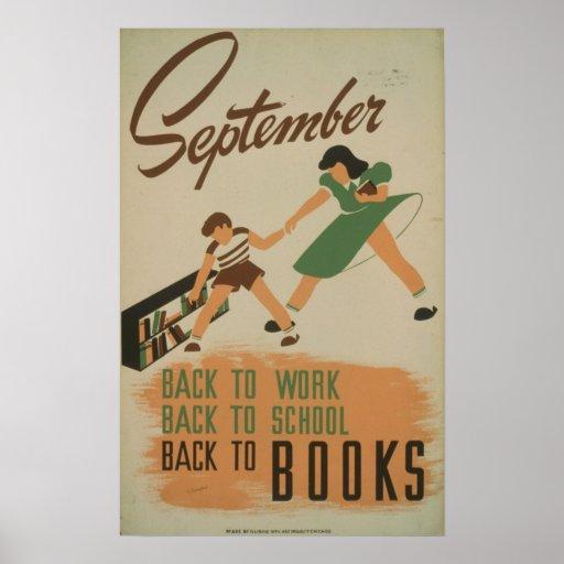 Septiembre - de nuevo a trabajo - de nuevo a escue poster