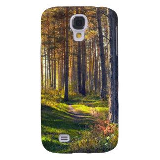 Septiembre en el bosque. Salida del sol en bosque Funda Para Samsung Galaxy S4