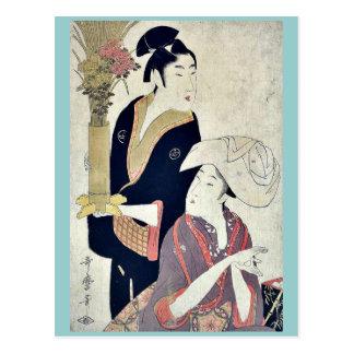 Septiembre por Kitagawa, Utamaro Ukiyoe Tarjetas Postales
