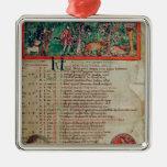 Septiembre: tendiendo el verraco, de un calendario ornamento de navidad
