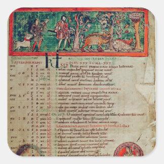 Septiembre: tendiendo el verraco, de un calendario pegatina cuadrada