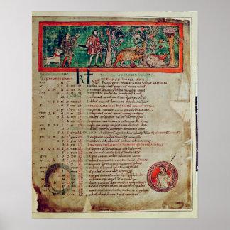 Septiembre: tendiendo el verraco, de un calendario póster