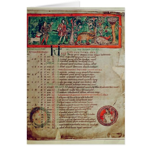 Septiembre: tendiendo el verraco, de un calendario tarjetas
