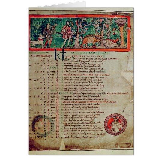Septiembre: tendiendo el verraco, de un calendario tarjeta de felicitación