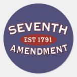 Séptima enmienda Est 1791 Pegatinas Redondas