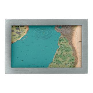 Séptimo mapa del mundo de la noche hebillas de cinturon rectangulares