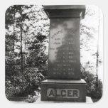 Sepulcro de Horatio Alger en Natick, Massachusetts Pegatina Cuadrada