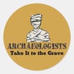 Sepulcro del arqueólogo etiquetas redondas