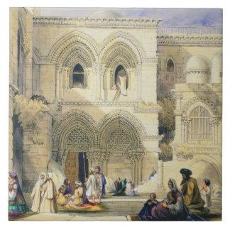 Sepulcro santo, en Jerusalén (litho del color) Azulejo Cuadrado Grande