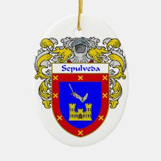 Sepulveda Coat of Arms/Family Crest Ceramic Ornament