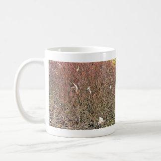 Seque las hojas en campo de hierba seca tazas de café