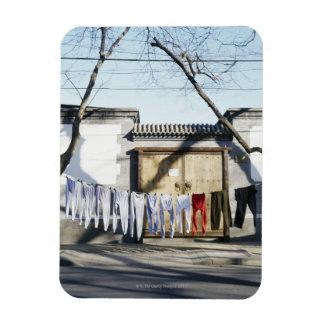 Sequedad del lavadero en cuerdas para tender la ro imanes