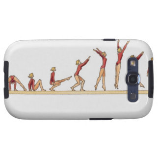 Sequence of illustrations showing female samsung galaxy SIII cover