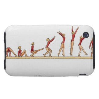 Sequence of illustrations showing female tough iPhone 3 case