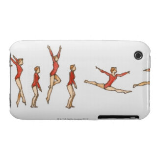 Sequence of illustrations showing female gymnast iPhone 3 Case-Mate case