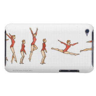 Sequence of illustrations showing female gymnast iPod touch Case-Mate case
