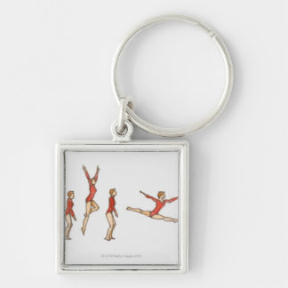 Sequence of illustrations showing female gymnast keychain